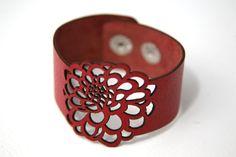 Dahlia flower leather bracelet cuff by RockBodyLeather on Etsy $25