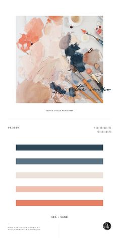 a sea-and-sand-inspired color palette — Creative brands for creative people // Akula Kreative Coral Color Schemes, Coral Colour Palette, Modern Color Palette, Blue Colour Palette, Muted Colors, Warm Colors, Modern Color Schemes, Creative Brands, Creative People