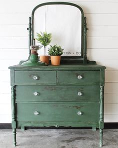 Finn and Bo Old Barn Milk Paint in Moss Green Dresser