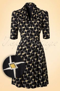 Emily and Fin 50s Dinner Rose Dress in Black and Yellow  102 14 15234 20151002 0004W1