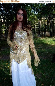 SALE Crochet Sweater Coat Crochet Lace Blouse by MariArtFelting