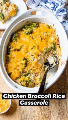 Chicken Broccoli Rice Casserole, Chicken Rice Recipes, Easy Chicken And Rice, Easy Rice Recipes, Easy Casserole Recipes, Healthy Recipes, Easy Healthy Casserole, Dinner Recipes With Rice, Dinner Ideas With Chicken