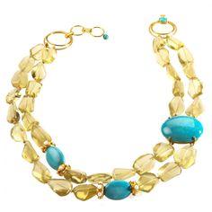 Lemon Quartz And Turquoise Necklace