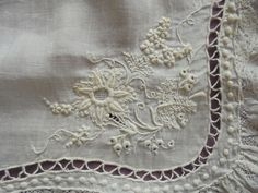 Antique Lace Handkerchief French Whitework Valenciennes Binche Karoline 18th c