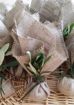 Burlap Wedding Favors with Olive Leaf Min by PreciousandPrettygr
