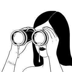 You're so far away 너무 멀리 있는 너 . . . #binoculars #tears #missingyou