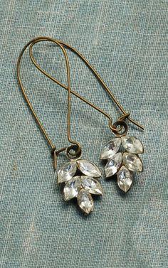Rhinestone LEAF Earrings Romantic Bridal Estate