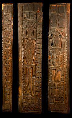 Africa | Door consisting of three panels, from the Nupe people of Nigeria | Wood; matt brown patina