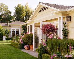 pretty garden & french doors always set  the stage