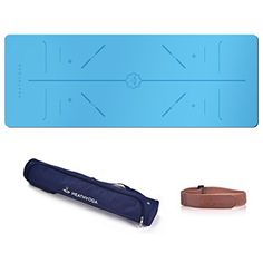 Heathyoga PRO Yoga Mat with Body Alignment Lines, Free Carry Bag, Durable Rubber Base Revolutionary Skin-Friendly and Wet-Grip Surface. Non Slip and 100% Satisfaction Guarantee, Perfect for Hot Yoga.