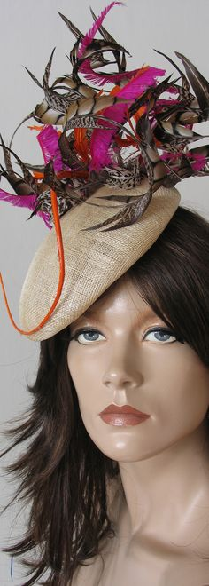 The Madlyn Pheasant Feather Beret headpiece, customised to have Hot pink with the Orange for Cheltenham Races next month. Super Fun Pretty. Can customise for anyones Kentucky Derby, Royal Ascot, Del Mar, LMelbourne Cup or anyother event outfit ideas. #kentuckyderby #royalascot #ascothats #derbyhats #kentuckyderbyhats #fascinators #pheasantfeathers #pinkhats #derbyoutfits #millinery #royalascotoutfits