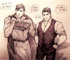 4/15/17 9:34a DC Batman Superman and Bruce Wayne ''Are You Alright Mr. Wayne. Did You Hurt?'' Bruce Whispers....stop that! Super has His Hand Down Bruce's Back and Waist & On His Butt! ''I'm Fine.....Mr. Super.'' B/W Pic