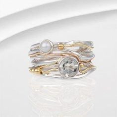 Green amethyst and pearl ring in flowing sterling silver design with gold filled wire touches, stunning ring! Please have a look at second