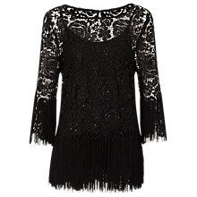 Jacques Vert Tassel Lace Tunic Top, Black