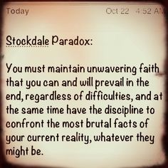 Stockdale Paradox. Admiral Jim Stockdale, who was a United States military officer held captive for eight years during the Vietnam War. Stockdale was tortured more than twenty times by his captors, and never had much reason to believe he would survive the prison camp and someday get to see his wife again.