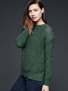 Mixed knit sweater