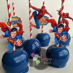 Candy apples I made for my son's birthday. #superman #spiderman #candyapples…