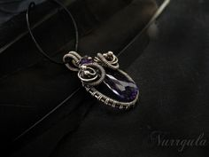 Wire wrapped necklace silver necklace purple by NurrgulaJewellery