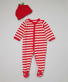 This Red & White Stripe Apple Footie & Beanie - Infant by Vitamins Baby is perfect! #zulilyfinds