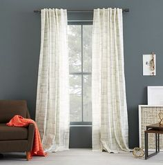 I got these West Elm curtains for the sliding glass door in the eating area.  They looked white in the photo but are really a yellow/beige so I am returning them.