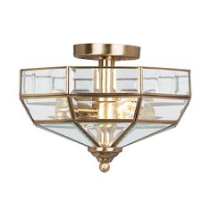 Elstead Old Park 2 Light Antique Brass Semi Flush Ceiling Light