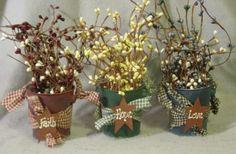 Faith, Hope and Love Primitive Berry Buckets-Primitive Hand painted Faith Hope and Love, Primitive Buckets with Pip Berries, Primitive Home Decor,