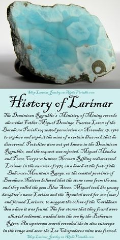 crystal meanings HISTORY OF LARIMAR The Dominican Republic's Ministry of Mining records show that Father Miguel Domingo Fuertes Loren of the Barahona Parish requested permission on 23 Minerals And Gemstones, Crystals Minerals, Rocks And Minerals, Gemstones Meanings, Crystal Healing Stones, Crystal Magic, Stones And Crystals, Gem Stones, Blue Crystals