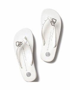 a5c49b1fa70671 Double Heart Bridal Flip Flops by Girl Two Doors Down Cheap Beach Wedding