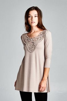 Russian Lace Trim Tunic Top