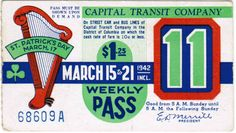 Capital Transit Weekly Pass (March 15-21, 1942).