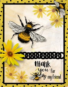 Scrapbook Examples, Homemade Greeting Cards, Bee Cards, Scrapbook Cards, Friend Scrapbook, Bee Happy, Cards For Friends, Paper Cards, Flower Cards