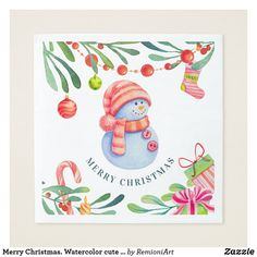 Holiday Napkins created by RemioniArt. Christmas Images, Christmas And New Year, Winter Holiday, Holiday Cards, Christmas Cards, Merry Christmas, Christmas Paper Napkins, Cute Snowman, White Elephant Gifts