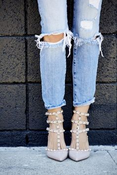 763da6b7a84d Ripped jeans and Valentino studded shoes.