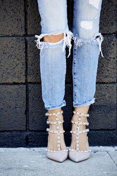 faded denim & blush kitten heels.