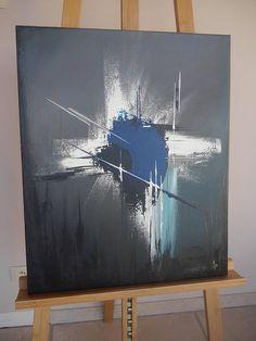 Tableau abstrait gris sombre
