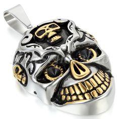 Edelstahl Anhänger Halskette Kette Silber Gold Golden Schwarz Totenkopf Schädel