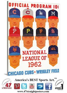 Vintage Chicago Cubs art on canvas. #Chicago #Cubs #baseball #vintage #sports #art #gifts #giftideas #mancave #gameroom #homedecor #47straight #row1brand