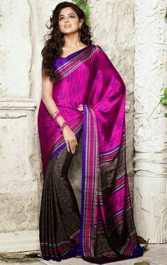 Picture of Elegant Magenta and Coffee Color Saree