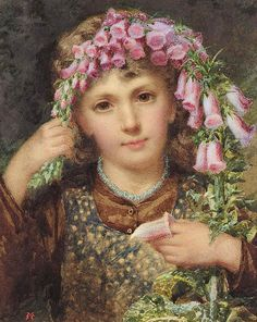 """⊰ Posing with Posies ⊱ paintings of women and flowers - Samuel McLoy. """"Girl with Fox Gloves"""""""
