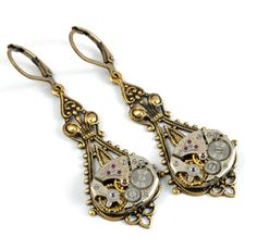 Your place to buy and sell all things handmade Steampunk Earrings Steam Punk Watch Earrings Drop Dangle Earrings Antique Brass Steampunk Wedding Steampunk Jewelry by Victorian Curiosities. Antique Earrings, Dangle Earrings, Filigree Earrings, Fancy Earrings, Filigree Jewelry, Skull Jewelry, Tribal Jewelry, Victorian Jewelry, Vintage Jewelry