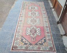 Free Shipping VINTAGE OUSHAK RUG Rug runner Kilim Rug Vintage Rug Turkish Rug Oushak Rug 9 x 3.2 feet e:814