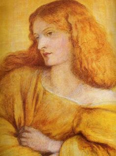 Dante Gabriel Rossetti, 1863, Woman In Yellow. Sitter: Annie Miller