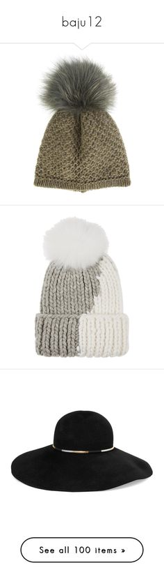 """baju12"" by mutiara08 ❤ liked on Polyvore featuring accessories, hats, green, pom beanie, green hat, beanie cap hat, pom pom beanie, inverni hats, light grey and eugenia kim"