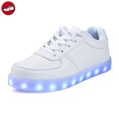 SAGUARO® 7 Colors LED Light Up Shoes USB Charging Luminous Flashing Sneaker Fashion Low Top Glow Sportschuhe for Women Men Kids Boys Girls, Schwarz 37