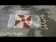 ஈசி படி கோலம்... @வெள்ளிக்கிழமை போடலாம் - YouTube Rangoli Borders, Rangoli Border Designs, Rangoli Designs Images, Beautiful Rangoli Designs, Indian Rangoli, Kolam Rangoli, Padi Kolam, Good Morning Happy, Necklaces