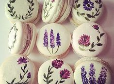 hand painted delicate macarons.