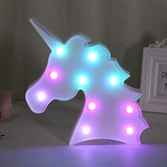 QC Life Colorful Unicorn LED Light Night Lights Lamp Wall Decoration Decorative Sign for Party/Wedding/Kid Birthday Party/Holiday Celebrations(Unicorn)