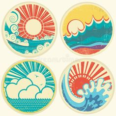 Vintage sun and sea waves. Vector icons of illust vector illustration - illustration of clouds, retro: 32251715 - Vintage sun and sea waves. Vector icons of illustration - Paisley Doodle, Vintage Waves, Retro Vintage, Logos Tattoo, Icon Set, Art Soleil, Waves Vector, Vector Icons, Wave Illustration