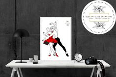 One Line Drawing of Dancing Couple Dancing Couple, Continuous Line Drawing, Handmade Items, Handmade Gifts, Own Home, Wall Prints, Couple Goals, Anniversary Gifts, Dorm