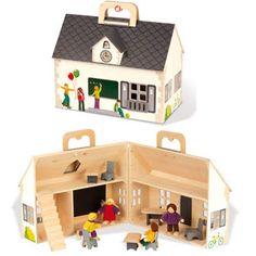 Houten Poppenhuis Janod School + 14 items | Antroposofisch speelgoed